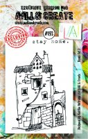#193 house set 3 clear stamp set - Stämpelset med hus och text från Aall & Create A7