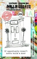 #194 house set 4 clear stamp set - Stämpelset med hus och text från Aall & Create A7