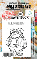 #252 Coffee first dog stamp - Stämpel med en kaffetörstig hund från Aall & Create