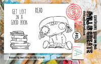 #415 Good book girl clear stamp set - Stämpelset med flicka som läser i en bok från AALL & Create A7