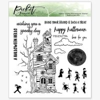 A spooky day Halloween haunted house clear stamp set - Stämpelset med halloweentema från Picket Fence Studios 15*15 cm