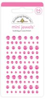 Bubblegum Mini Jewels rhinestones - 84 st rosa dekorationer från Doodlebug design