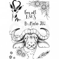 Buffalo Jill clear stamp set - Stämpelset med buffalo från Pink ink design A5