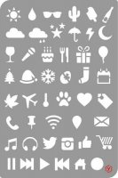 Bullet Journal Icons Stencil - Schablon med småbilder för t ex bullet journal från Pronty