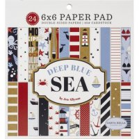 Deep blue sea paper pad 6*6 - Mönsterpapper med havstema från Carta Bella 15*15 cm