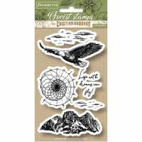 Eagle rubber stamp set - Stämpelset med örn och naturelement från Stamperia 10*16,5 cm