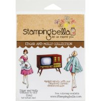 Edgar and Molly vintage TV set rubber stamp set - Stämpelset med gammaldags teve från Stamping Bella
