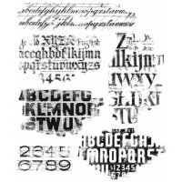 Faded type cling rubber stamp set - Stämplar med slitna alfabet från Tim Holtz / Stamper's Anonymous