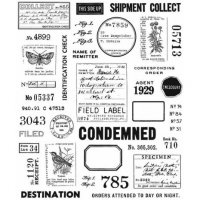 Field notes cling rubber stamp set - Stämpelset med etiketter, ord m m från Tim Holtz / Stamper's Anonymous