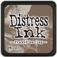 frayed burlap, distress ink, tim holtz