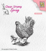 Mother hen with chicks clear stamp - Stämpel med höna och kycklingar från Nellie Snellen 4,9*6 cm