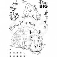 Hip hippo-ray clear stamp set - Stämpelset med flodhäst från Pink ink design A5