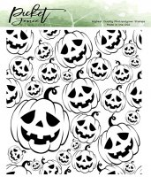 Jack-o-Lanterns clear background stamp with pumpkins - Stämpel med pumpor från Picket fence studios 10x10 cm