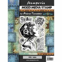 Lady Mixed Media rubber stamp set - Stämpelset med steampunktema från Stamperia