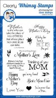 Mother love clear stamp set - Stämplar med mors dag-tema från Whimsy Stamps