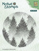 Misty forest tree circle clear stamp - Rund stämpel med träd från Nellie Snellen 8 cm i diameter