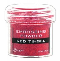Red tinsel embossing powder - Rödglittrigt embossingpulver från Ranger