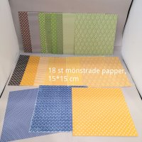 18 patterned papers - Mönstrade papper från Reprint 15*15 cm