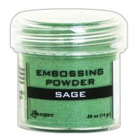 Sage metallic embossing powder - Salviagrönt embossingpulver från Ranger