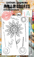 Sketched and doodled flower moments clear stamp set #154 - Stämpelset med doodlade blommor från Aall & Create A6