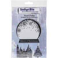 snow globe, stamp, stämpel, indigoblu, skakkula, jul, vinter