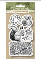 Squirrel rubber stamp set - Stämpelset med ekorre och naturelement från Stamperia 10*16,5 cm