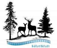 Silhouette Winter scene with deer and trees rubber stamp - Rådjur i skogen-stämpel från KatzelKraft