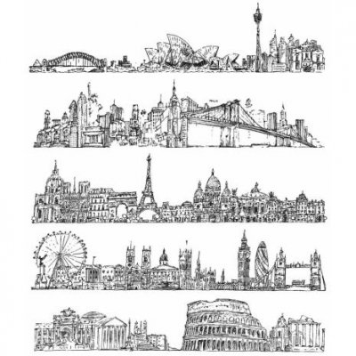 cityscapes, skyline, stämplar, silhuett, storstad, paris, london, rom, sidney, new york, stamp, stamper's anonymous
