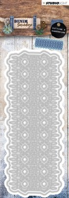 denim lace pattern die, stansmall, spets, die, studio light