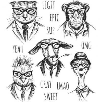 hipster, stamps, animal, cat, monkey, goat, get, katt, apa, struts, ostrich, tim holtz, stamper's anonymous