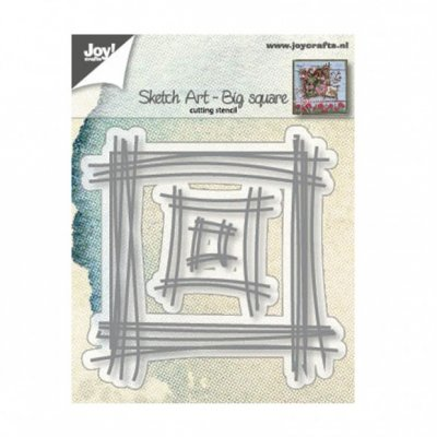 Sketch art big square die set - Stansmallar med skissade streck från Joy! Crafts