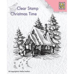 snowy house, hus, stämpel, jul, stamp, nellie snellen