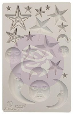 Stars and moons silicone mould - Silikonform med stjärnor och månar från Finnabair / Prima Marketing inc