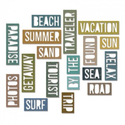 vacation, words, dies, stansmallar, ord, semester, tim holtz, sizzix